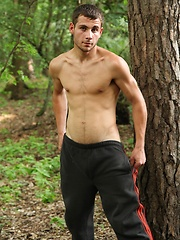 Straight european guy posing in the woods